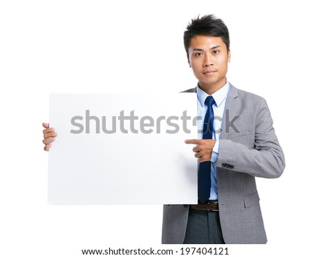 Business man hold with blank board - stock photo