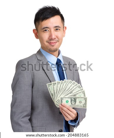 Business man hold with money