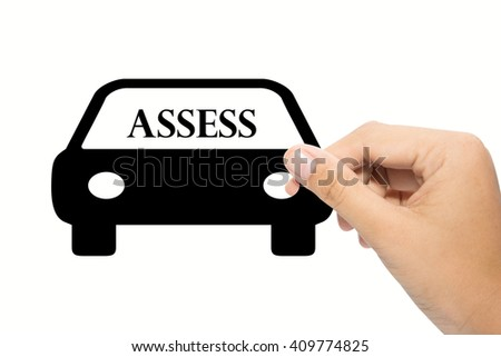 Business man holding a assess sign - stock photo