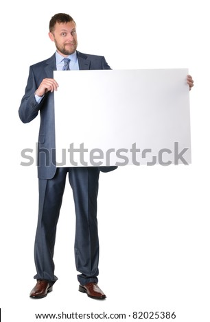 Business man holding a blank banner isolated on white background - stock photo