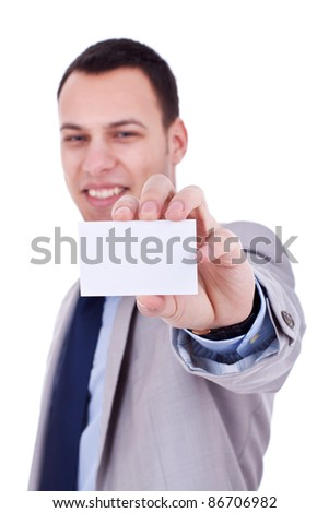 Business man holding a blank card on a white background - stock photo