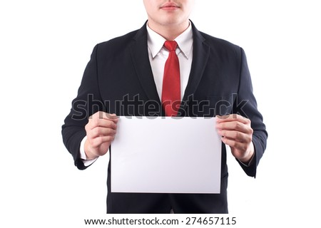 business man holding a blank paper - stock photo