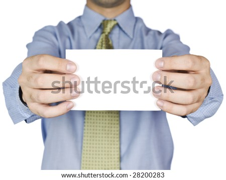 Business man holding a blank white card (focus on the card). Isolated on white.