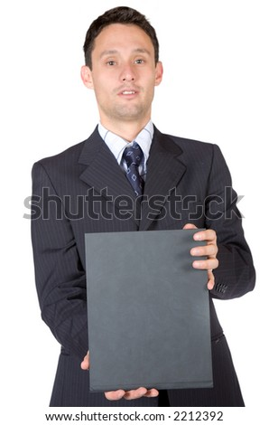 business man holding a book over a white background