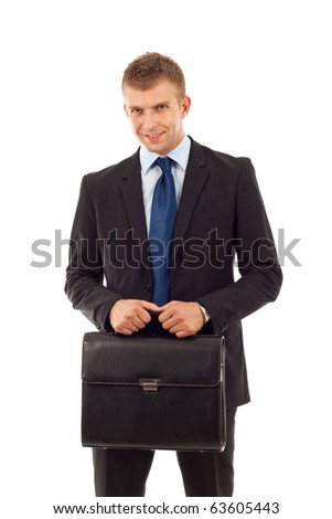 business man holding a  briefcase over white - stock photo