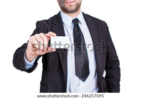 Business man holding a card with free text space - stock photo