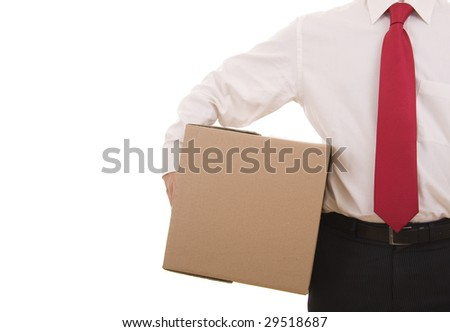 Business man holding a cardboard box isolated on white - stock photo