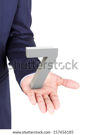 Business man holding a 3d number in hand palm, isolated on white background - stock photo
