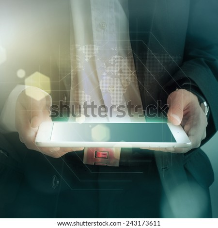 business man holding a digital tablet - stock photo