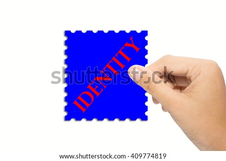 Business man holding a identity sign - stock photo