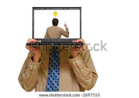 Business man holding a laptop with image of an idea - stock photo
