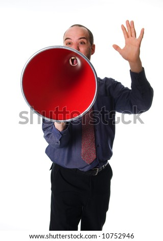 business man holding a red megaphone on emotions