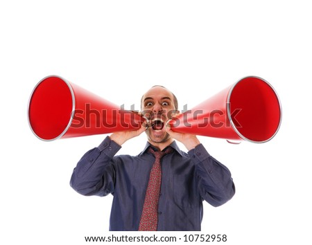 business man holding a red megaphone on emotions - stock photo