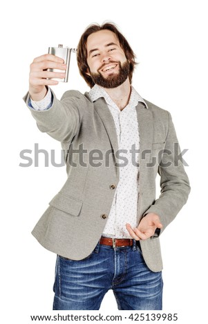 business man holding alcohol flask
