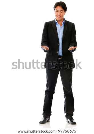 Business man holding an imaginary object - isolated over white