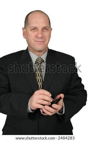 Business man holding and using a PDA - stock photo