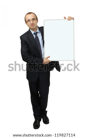 Business man holding banner. Isolated on white background
