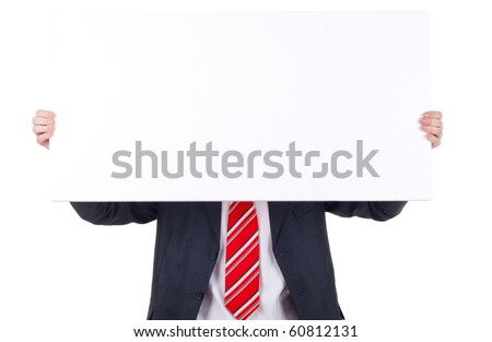 business man holding banner over white background - stock photo