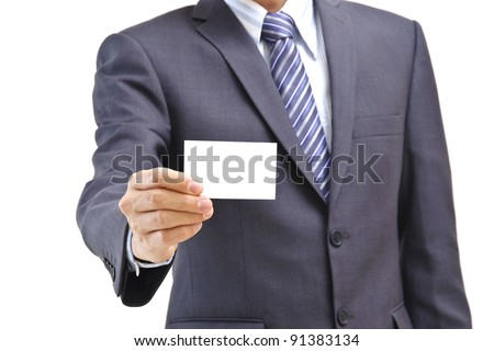 Business man holding blank business card isolated on white - stock photo
