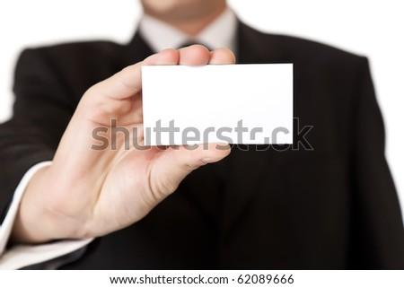 Business man holding blank card on white isolated background