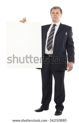 business man holding blank cardboard isolated on white background