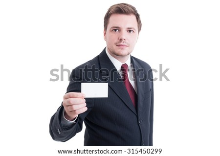 Business man holding blank empty card with copy space isolated on white