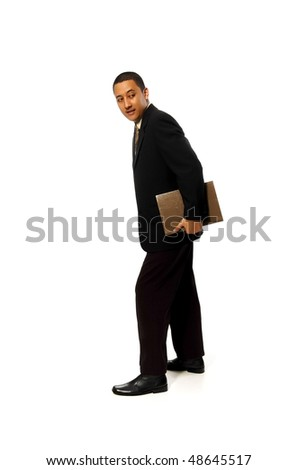 Business Man holding book isolated on white background - stock photo