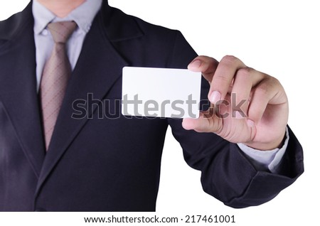 business man holding card in hand isolated on white background - stock photo