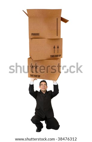 Business man holding cardboard boxes isolated   on white - stock photo