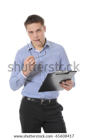 business man holding clipboard - stock photo