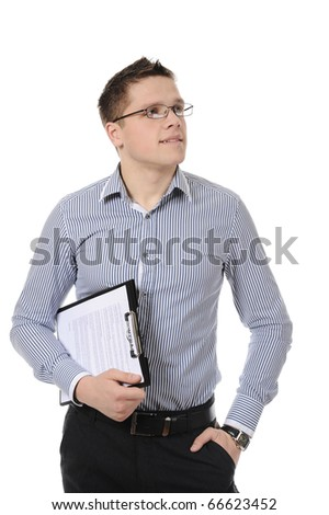 business man holding clipboard. Isolated on white background