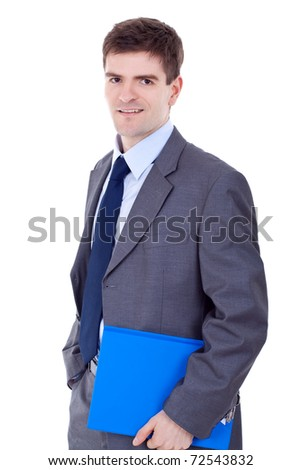 Business man holding clipboard isolated on white background - stock photo