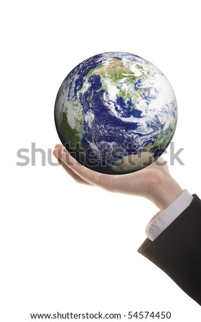 business man holding earth isolated on white background