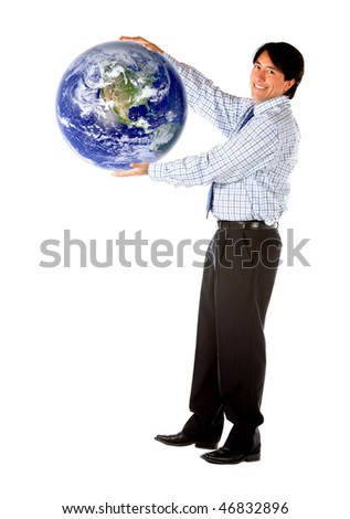 Business man holding globe isolated over a white background - stock photo