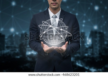 Business man holding globe line graphic, Business globalization