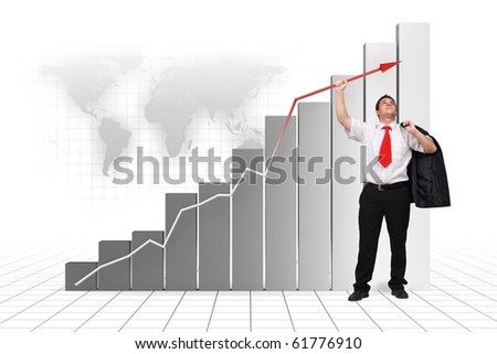 Business man holding graph arrow high up - 3d rendered image and photo combination - stock photo