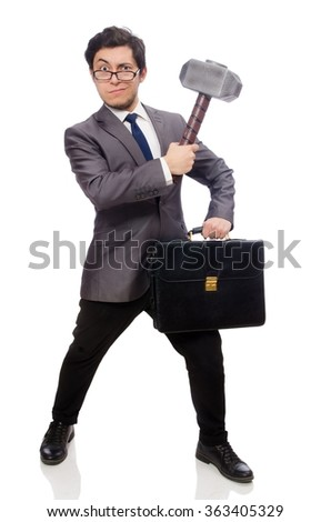 Business man holding hammer isolated on white - stock photo