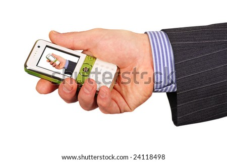 business man holding modern mobile phone with miniature man inside