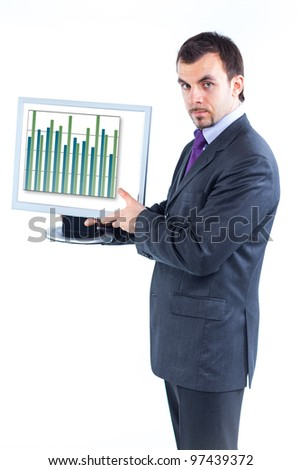 business man holding monitor with business graph, isolated - stock photo