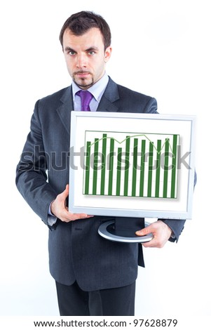 business man holding monitor with business graph, isolated