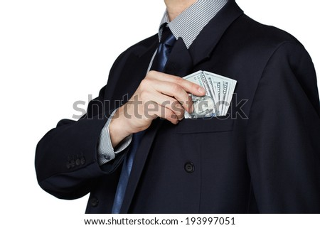 Business man holding one hundred dollars notes - stock photo