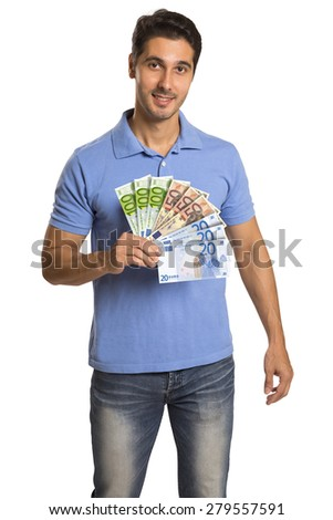 Business man holding/showing Money Euro banknotes - stock photo