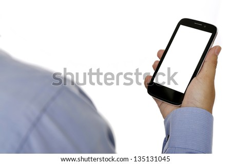 Business man holding smartphone isolated over white background - stock photo