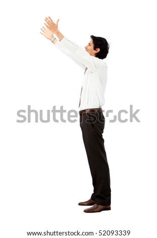 Business man holding something imaginary isolated over a white background - stock photo