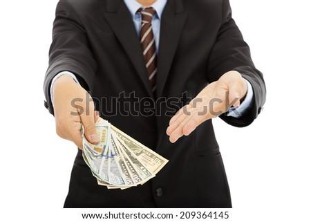 business man holding us dollar cash. isolated on white - stock photo