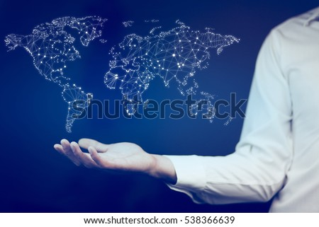 Man hand phone on world map stock photo 529093657 shutterstock business man holding world map in hands gumiabroncs Images