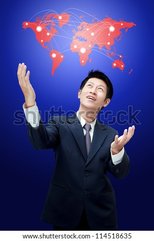 Business man holding world map with connection icons of the business - stock photo