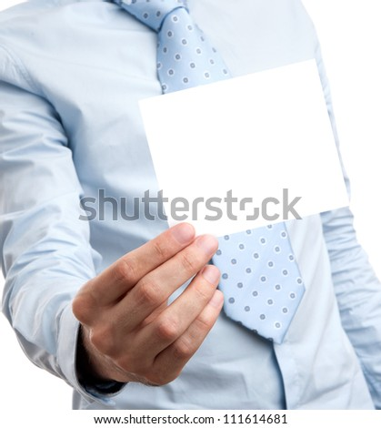 business man holds a blank card