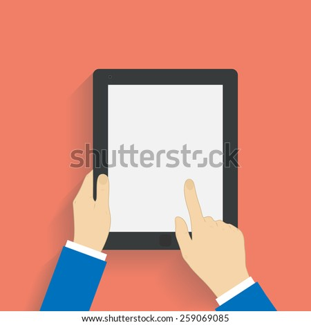 Business man holds and manages tablet computer with white blank screen. Using digital tablet pc. Flat design concept with copy space.  illustration  - stock photo