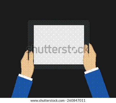 Business man holds holding tablet computer with white blank screen. Using digital tablet pc. Flat design concept composed of the dots. illustration  - stock photo